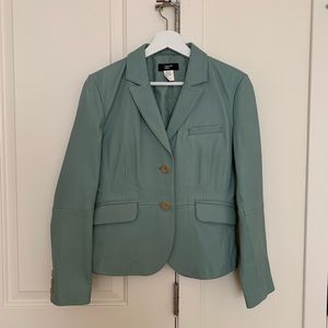 Vintage Phillip Adec blue leather blazer jacket